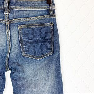 TORY BURCH Classic Tory Boot Jeans 24 Embroidered